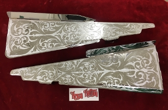 1962 Impala Radiator Filler pieces Engraved and Chrome plated