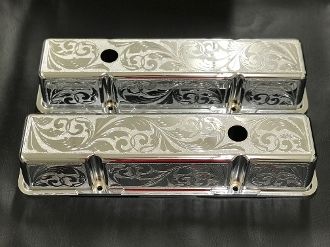 Valve Covers Tall for 305/350 Chrome Engraved